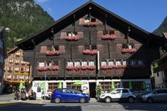 Traditional chalet at Wassen on the Swiss alps. Wassen, Switzerland - 5 August 2017: traditional chalet at Wassen on the Swiss alps Stock Images