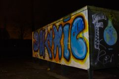 Wassenaar graffiti at night Royalty Free Stock Photography
