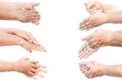 Wassend uw stap voor stap geïsoleerde handen Stock Afbeelding