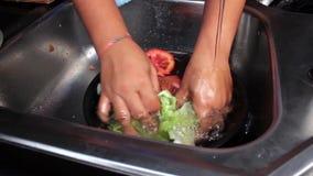 Wassende kleurrijke vruchten en groenten in de keukengootsteen stock video