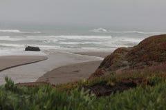 Wasserüberlauf erreicht die pazifische Küstenlinie stockbild