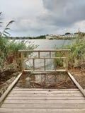 Wasser überschwemmt ein Dock, Kingsland-Nebenfluss, Hackensack-Fluss, Wiesen, NJ, USA Stockbilder