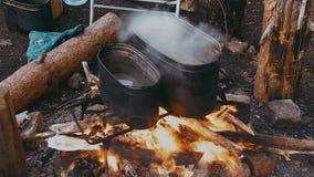 Wasser-Blutgeschwüre in einem Topf über dem Feuer stock video footage