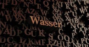 Wasser - 3D de madeira rendeu letras/mensagem Fotografia de Stock Royalty Free