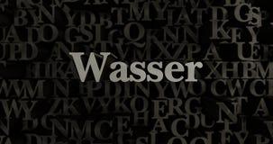 Wasser - 3D rendeu a ilustração typeset metálica do título Foto de Stock Royalty Free