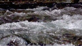 Wasser, das über die Felsen fließt stock video