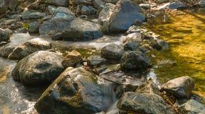 Wasser, das über Felsen im Dschungel läuft Lizenzfreie Stockfotografie