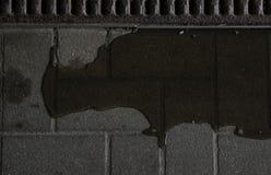 Wasser, das eine Spur auf gepflastertem Boden markiert Lizenzfreies Stockfoto