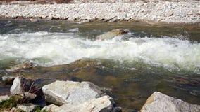 Wasser, das in kleinen wilden Fluss während des Frühjahres, des Sonnenglanzes auf weißen Wellen, der Steine am Vordergrund und de stock footage
