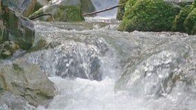 Wasser, das unter den Felsen fließt stock footage