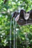 Wasser, das von einem Riesenmuschelnoberteil fällt Lizenzfreie Stockbilder
