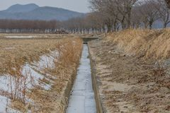 Wasser eingefroren im calvert auf dem Gebiet Lizenzfreies Stockbild