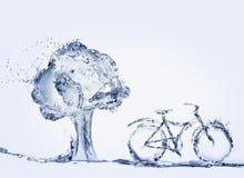 Wasser-Fahrrad und Baum Stockfotos
