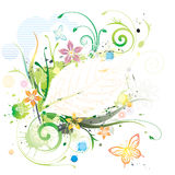 Wasser-Farbe mit Blumen lizenzfreie abbildung