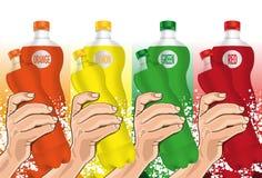 Wasser-Flasche in der Hand Stockbilder