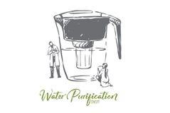 Wasser, gereinigt, Flasche, sauber, Filtrationskonzept Hand gezeichneter lokalisierter Vektor lizenzfreie abbildung