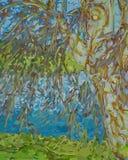 Wasser gesehen durch das Hängen von Willow Branches Stockbild