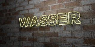 WASSER - Insegna al neon d'ardore sulla parete del lavoro in pietra - 3D ha reso l'illustrazione di riserva libera della sovranit Fotografia Stock Libera da Diritti