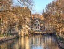 Wasser-Kanal in Straßburg Stockbild