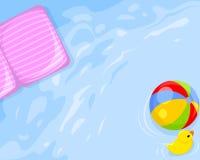 Wasser, Matratze, Ball, Ente stock abbildung