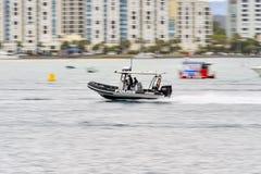 Wasser-Polizei-Schnellboot Stockfotos