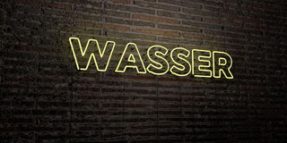 WASSER -Realistic Neon Sign on Brick Wall background - 3D rendered royalty free stock image Royalty Free Stock Photo
