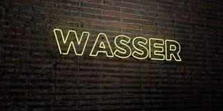 WASSER - Realistisch Neonteken op Bakstenen muurachtergrond - 3D teruggegeven royalty vrij voorraadbeeld Royalty-vrije Stock Foto