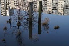 Wasser, Reflexionen und Gebäude Stockfoto