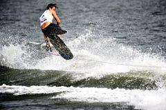 Wasser-Ski-Weltcup 2008: Mann Shortboard Tricks Lizenzfreies Stockbild
