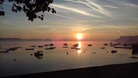 Wasser Sonnenaufgang-Belgrads Taurunum Serbien lizenzfreies stockbild