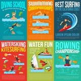 Wasser-Sport-Plakat-Sammlung stock abbildung
