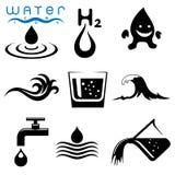 Wasser stand die eingestellten Ikonen in Verbindung Lizenzfreie Stockfotos