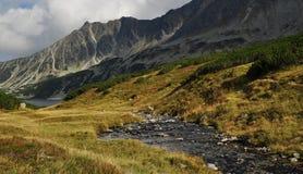 Wasser-Strom, der zu den fünf Seen fließt stockbild