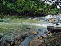 Wasser-Strom mit Felsen Stockfotografie