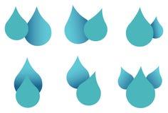 Wasser-Tropfen-Ikonen-Satz lokalisiert auf weißem Hintergrund Lizenzfreie Stockfotos