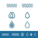 Wasser-Tropfen Minimalistic Logo Set lizenzfreie abbildung