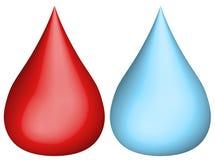 Wasser und Bluttröpfchen Lizenzfreies Stockbild