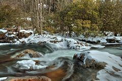 Wasser von Oconaluftee-Fluss in Great Smoky Mountains Stockfotos