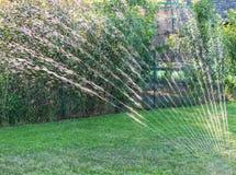 Wasserberieselungsanlage im Garten produziert helle Reflexionen während des Sonnenuntergangs Lizenzfreies Stockfoto