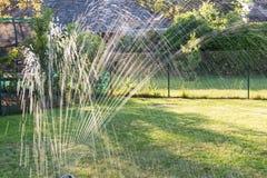 Wasserberieselungsanlage im Garten produziert helle Reflexionen während des Sonnenuntergangs Stockbild
