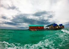 Wasserbungalow, semporna Sabah-malysia stockbilder