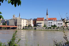 Wasserburg am Inn. The old town of Wasserburg am Inn is situated on a peninsula of Inn River royalty free stock images