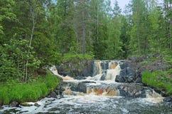 Wasserfälle auf dem Tohmajoki-Fluss lizenzfreies stockfoto