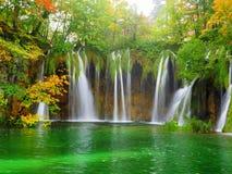 Wasserfälle in einem grünen Teich Stockfotos