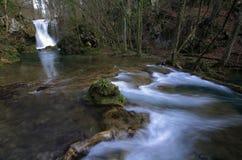 Wasserfälle im Wald im Frühjahr Lizenzfreies Stockbild