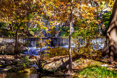 Wasserfälle und schöner Herbstlaub, die Guadalupe River, Texas umgeben stockfotos