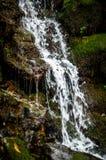 Wasserfall über grünen moosigen Felsen Lizenzfreie Stockfotos