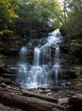 Wasserfall bei Ricketts Glen State Park im Herbst mit vorstehenden Felsen im Vordergrund Stockfotos