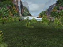 Wasserfall in der Landschaft Stockbild
