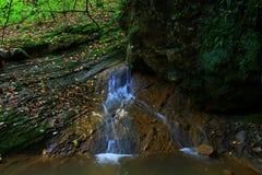 Wasserfall in der Waldherbstansicht stockfotografie